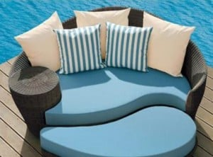 Blue contemporary round lounge chair & ottoman