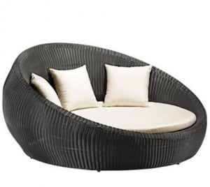 contemporary round outdoor wicker chair