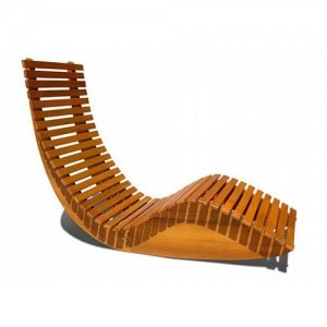 Wood slat contemporary outdoor rocker